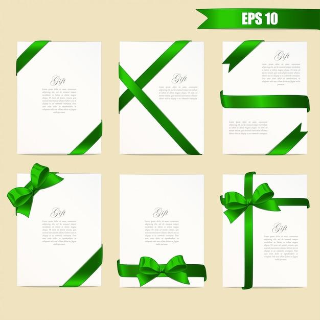Bandiere con nastri verdi Vettore Premium