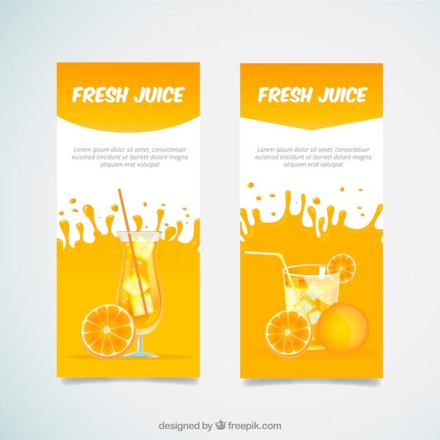 Bandiere decorative con bevande succo d'arancia Vettore gratuito