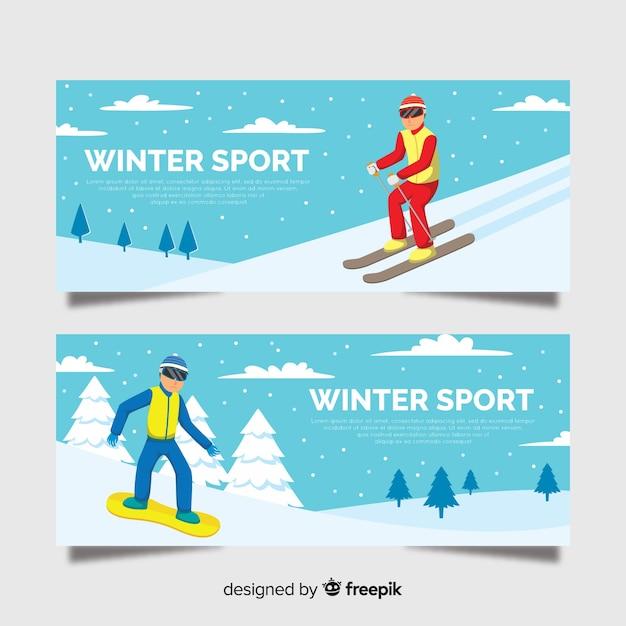 Bandiere degli sport invernali Vettore gratuito