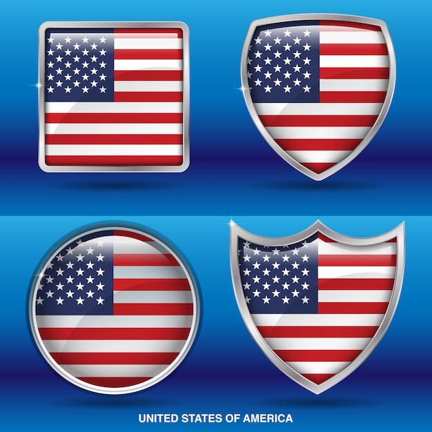 Bandiere degli stati uniti nell'icona di 4 forme Vettore Premium