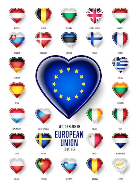 Bandiere dei paesi dell'unione europea Vettore Premium