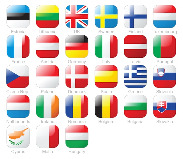 Bandiere dei paesi europei Vettore Premium