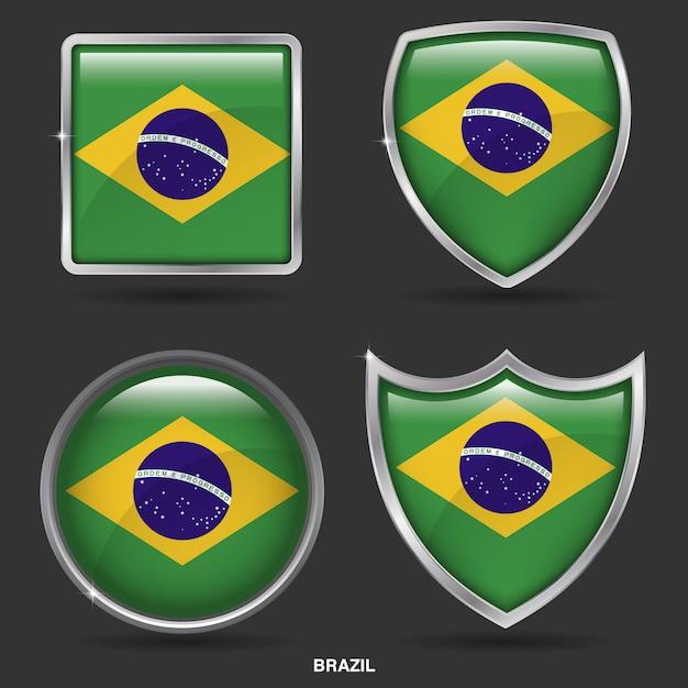 Bandiere del brasile in 4 icone di forma Vettore Premium