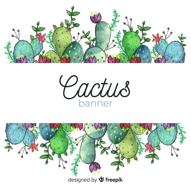 Bandiere del cactus dell'acquerello con la bandiera in bianco Vettore gratuito