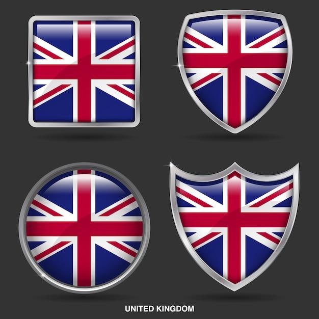 Bandiere del regno unito in 4 shape icon Vettore Premium