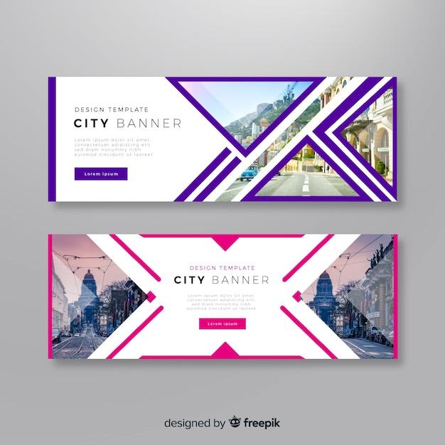 Bandiere della città moderna con foto Vettore gratuito