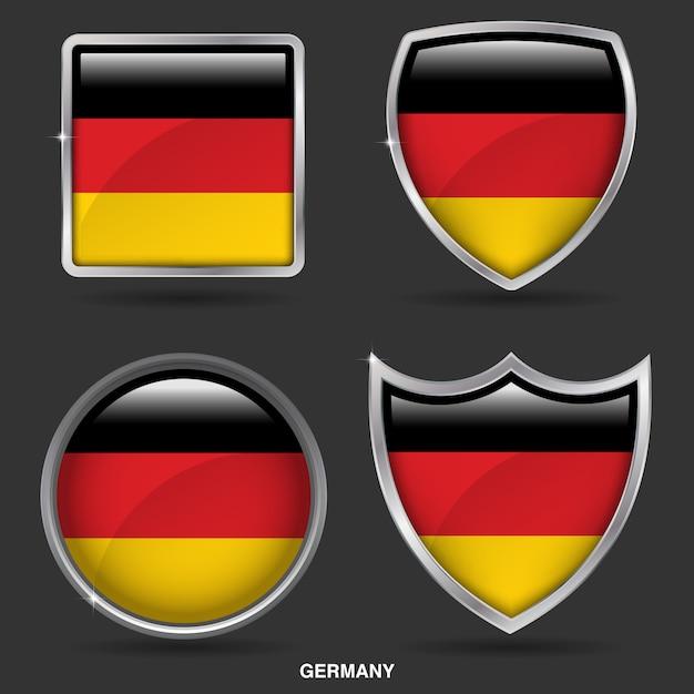 Bandiere della germania in 4 shape icon Vettore Premium