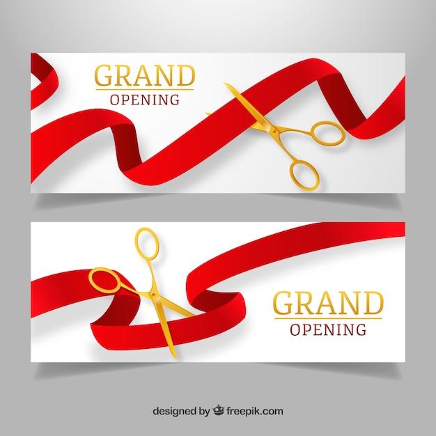 Bandiere di apertura realistiche con forbici dorate Vettore gratuito