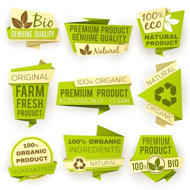 Bandiere di carta verde di origami di ecologia. set di tag e distintivi di vendita di prodotti biologici naturali eco. Vettore Premium