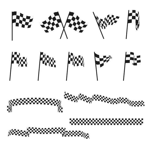 Bandiere di corsa automobilistica a quadretti in bianco e nero e insieme di vettore di rifinitura del nastro Vettore Premium