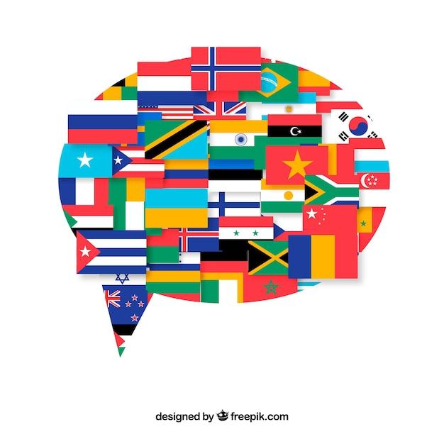 Bandiere di diversi paesi in forma di fumetto Vettore gratuito