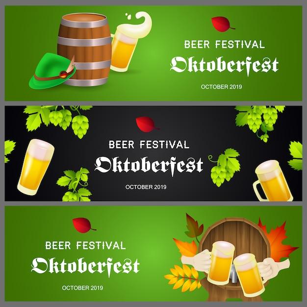 Bandiere di festival della birra su verde e nero Vettore gratuito