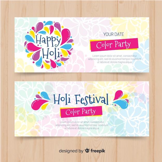 Bandiere di festival di holi disegnati a mano Vettore gratuito
