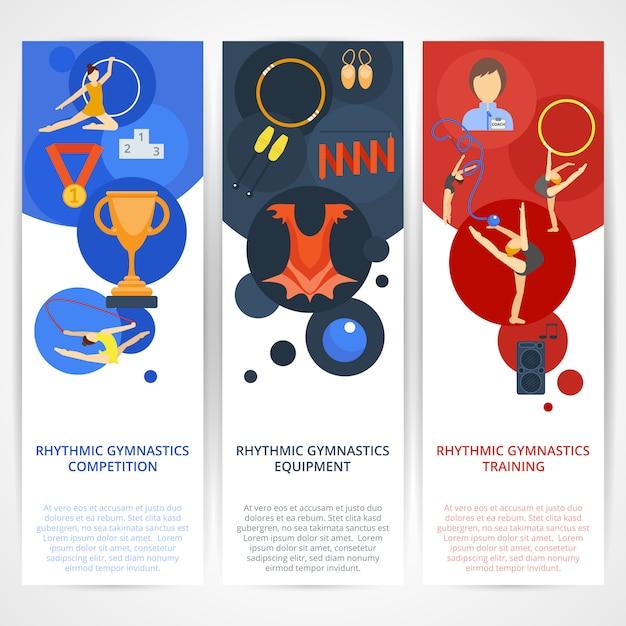 Bandiere di ginnastica piatte Vettore Premium