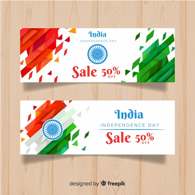 Bandiere di giorno dell'indipendenza dell'indiano piatto Vettore gratuito