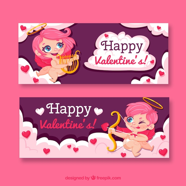 Bandiere di san valentino piatto Vettore gratuito