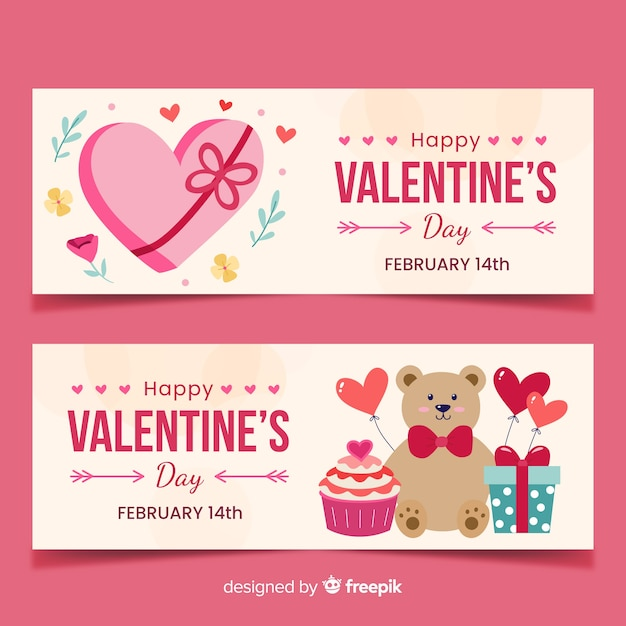 Bandiere di san valentino piatto Vettore Premium
