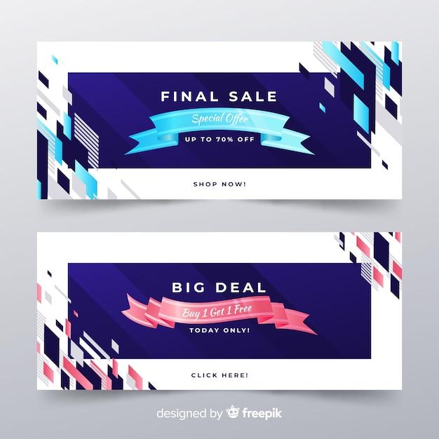 Bandiere di vendita astratta con elementi realistici Vettore gratuito