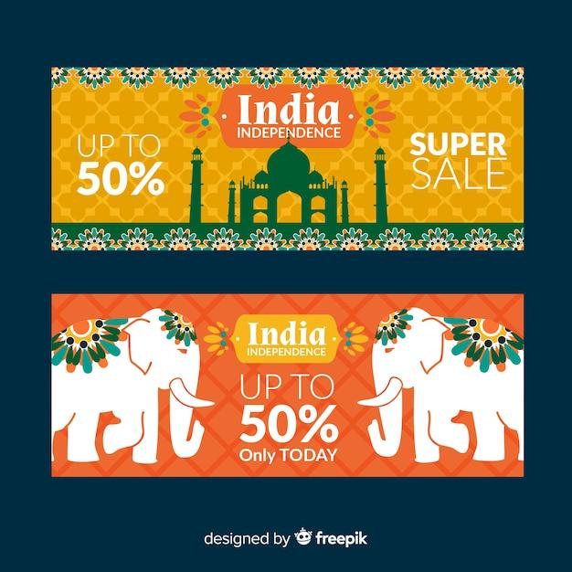 Bandiere di vendita di giorno di indipendenza dell'india Vettore gratuito