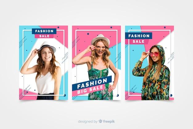 Bandiere di vendita di moda con foto Vettore gratuito