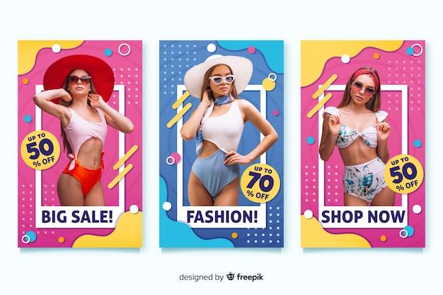 Bandiere di vendita di moda Vettore gratuito