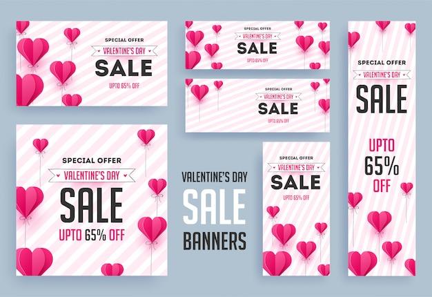 Bandiere di vendita di san valentino. Vettore Premium