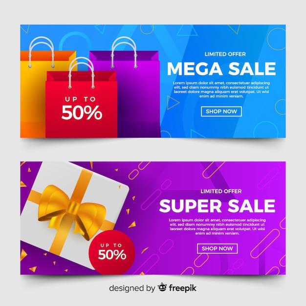 Bandiere di vendita geometrica astratta con elementi realistici Vettore gratuito