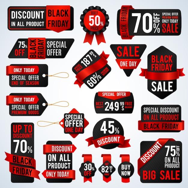Bandiere di vendita venerdì nero e cartellini dei prezzi, vendita di carta e adesivi sconto insieme vettoriale. sconto e offerta adesivo per illustrazione di promozione del negozio Vettore Premium