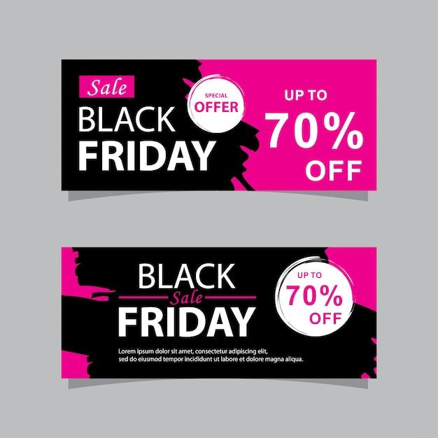Bandiere di vendita venerdì nero impostato con grunge Vettore Premium