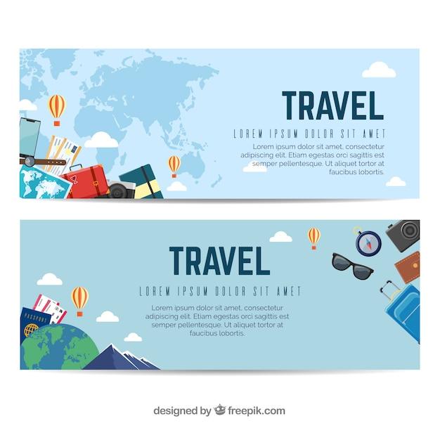 Bandiere di viaggio colorato con design piatto Vettore gratuito