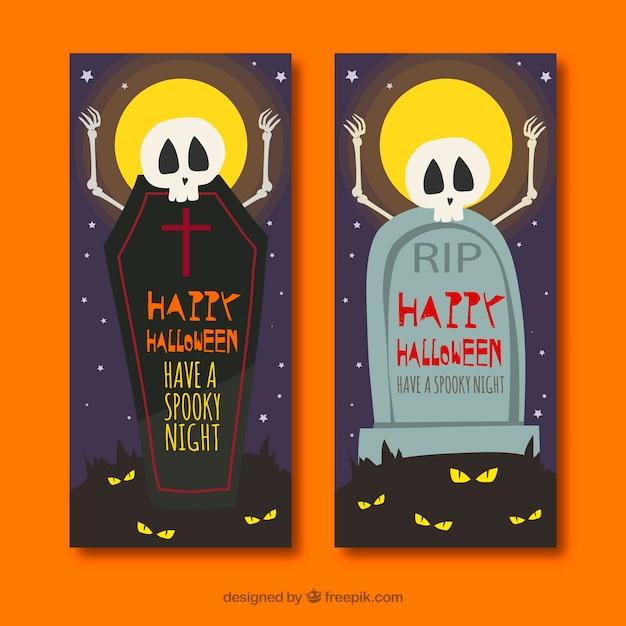 Bandiere Divertenti Di Halloween Con Scheletri E Tombe Scaricare