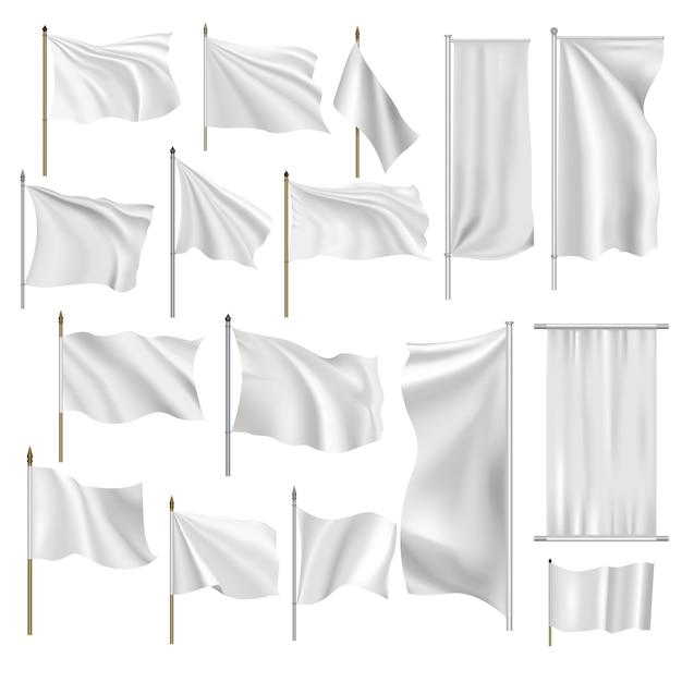 Bandiere e bandiere impostate Vettore Premium