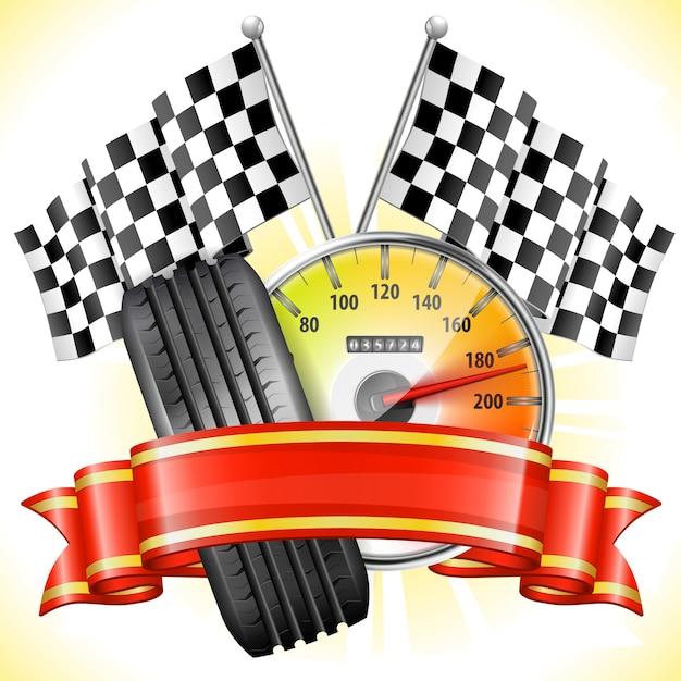 Bandiere e pneumatici da corsa Vettore Premium