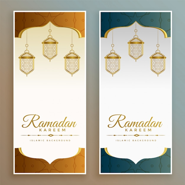 Bandiere eleganti di festival di ramadan kareem Vettore gratuito