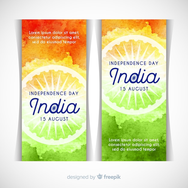 Bandiere felici dell'indipendenza dell'india Vettore gratuito