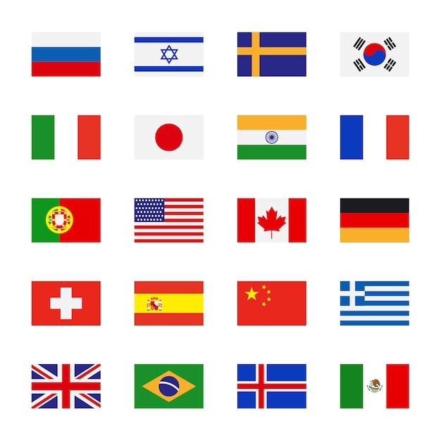 Bandiere icone piane Vettore Premium