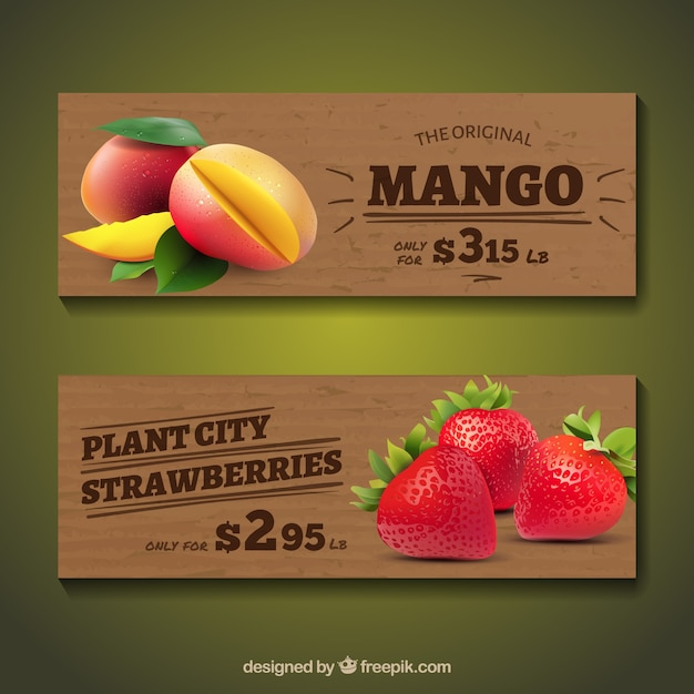 Bandiere in legno con frutti realistici Vettore gratuito
