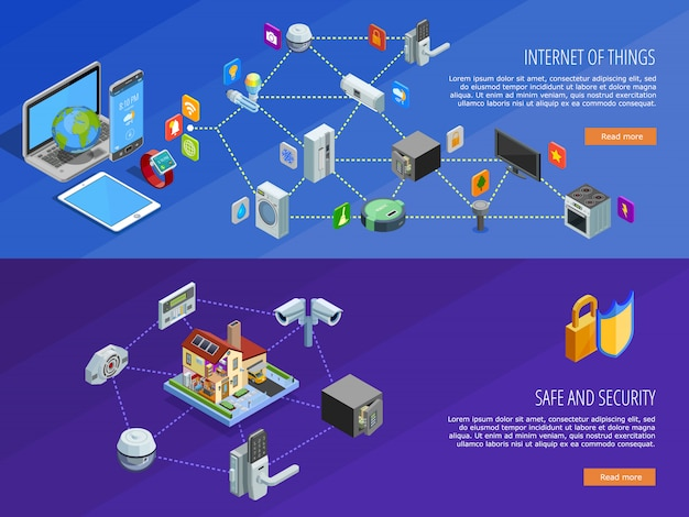 Bandiere isometriche di internet of things Vettore gratuito