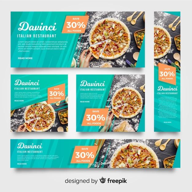 Bandiere moderne del ristorante della pizza con la foto Vettore gratuito