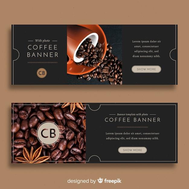 Bandiere moderne della caffetteria con la foto Vettore gratuito