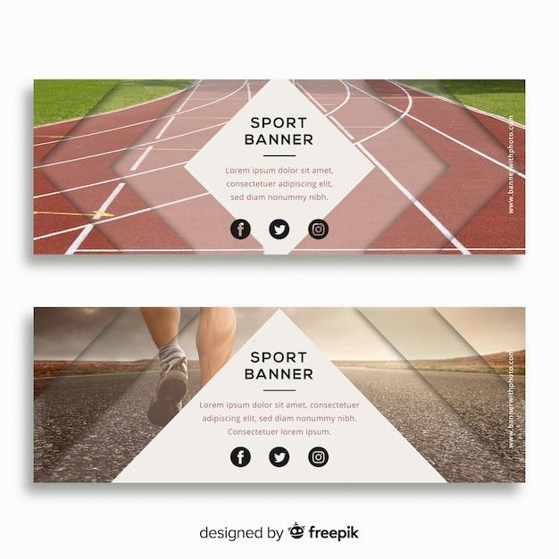 Bandiere moderne di sport con foto Vettore gratuito