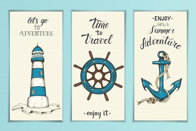 Bandiere nautiche d'epoca con ancoraggio vettoriale disegnato a mano, Vettore Premium