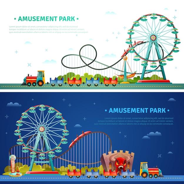 Bandiere orizzontali del parco di divertimenti Vettore gratuito