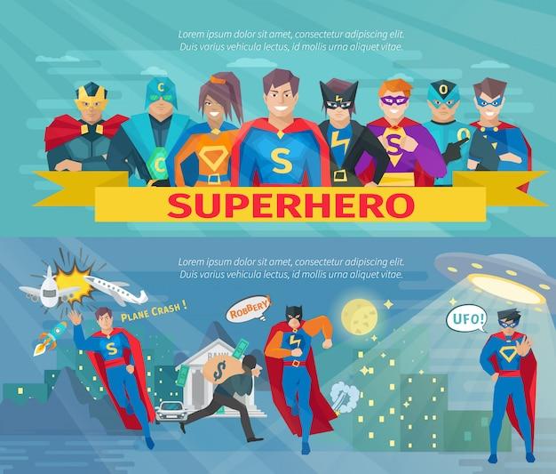 Bandiere orizzontali della squadra del supereroe messe con il salvataggio dei simboli del mondo Vettore gratuito