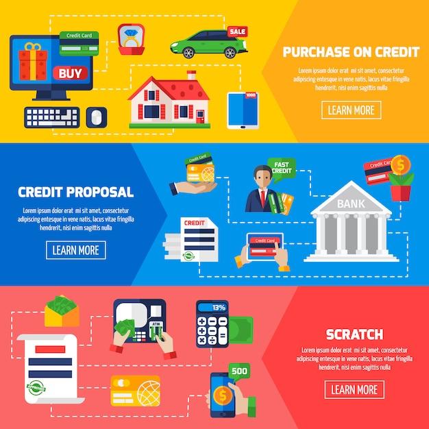 Bandiere orizzontali di debito prestito Vettore gratuito