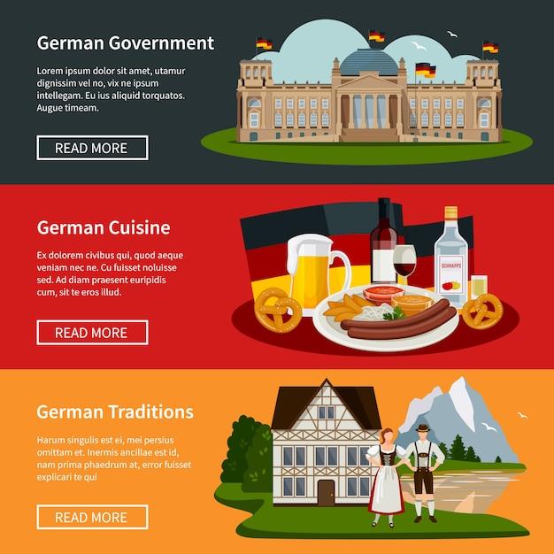 Bandiere orizzontali piatte germania Vettore gratuito