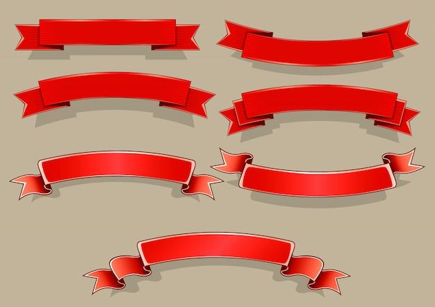 Bandiere rosse Vettore Premium