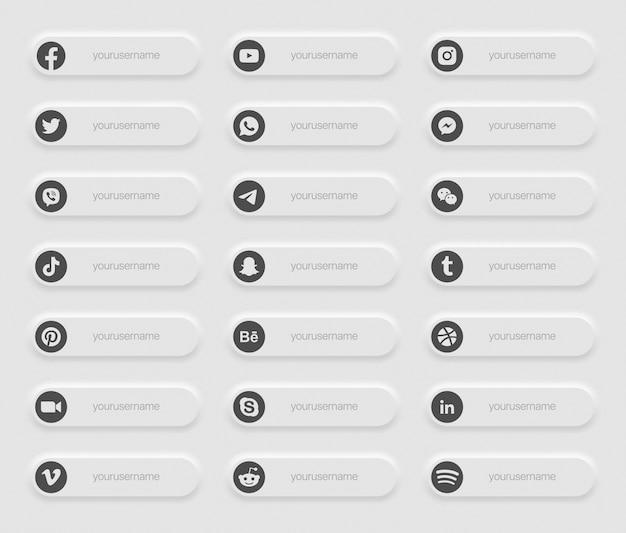Bandiere social media popolari terza icone inferiore Vettore Premium