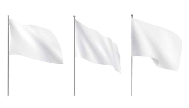 Bandiere tessili bianco vuoto realistico di pubblicità Vettore Premium