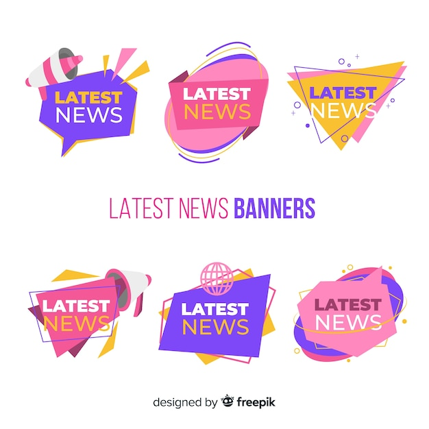 Bandiere variopinte di ultime notizie Vettore gratuito